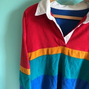 Vintage Tops - VTG 80s Rainbow Color Block Oversized Rugby Top